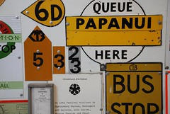 Queue Here (testpatern) Tags: park new newzealand christchurch bus heritage sign island south canterbury zealand stop signage southisland te wai aotearoa worldheritage pounamu ferrymead otautahi