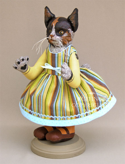 Fiona Original Calico Kitten Folk Art Cat Doll by Elizabeth Ruffing