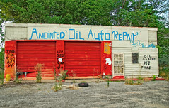 ANNOINTED AUTO REPAIR (akahawkeyefan) Tags: memphis tennessee davemeyer garage repair shop auto oil tires deserted closed abandoned