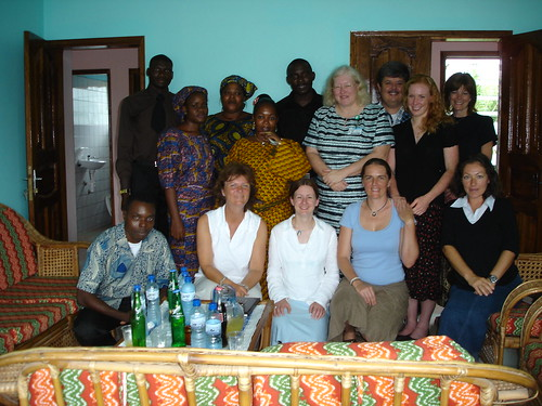 Pastor Gabriel, Joseph, James and ladies at the Pastor's home