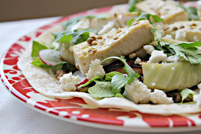 Coriander Tofu (or Chicken) Tostadas with Refried Beans ...