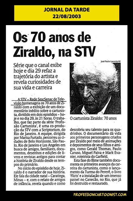 """""""Os 70 anos de Ziraldo, na STV"""" - Jornal da Tarde - 22/08/2003"""