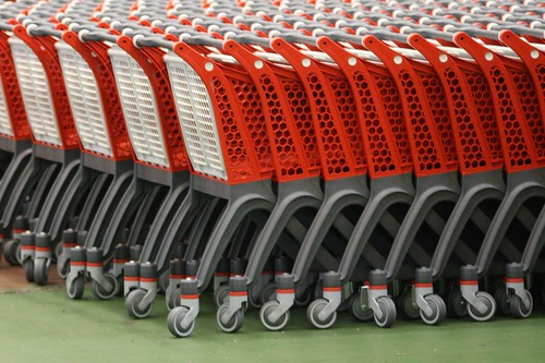 Plastic supermarket carts.