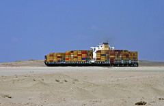 Container ship in the Suez Canal (b80399) Tags: port dessert canal sand ship desert egypt vessel cargo container said waterway ghostship suez