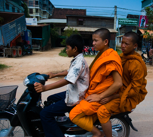 Monks on a bike near Siem Reap, Cambodia