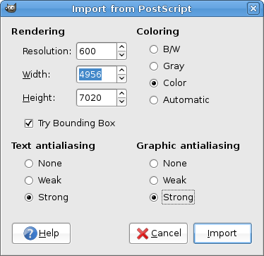 GIMP import EPS settings