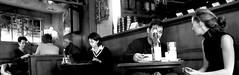Love, Work And Coffee (edouardv66) Tags: life bw panorama love coffee café work lumix switzerland blackwhite suisse geneva nb amour travail pan genève noirblanc scènedevie dmclx2 photoexplore