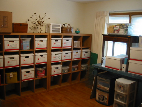 new craft room with boxes everywhere