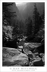 Merced River Canyon and Ilillouette Canyon, Autumn (G Dan Mitchell) Tags: california travel autumn trees usa color fall water leaves forest landscape nationalpark haze rocks stock scenic canyon boulders valley yosemite sunrays mercedriver godlight goldern induro ilillouette gdanmitchell