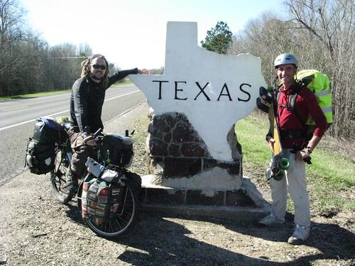 Fellow human powered traveler on the Louisiana - Texas border, USA