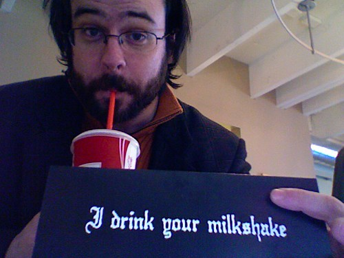 Aaron, with milkshake