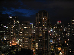 Yaletown Dusk (BC Robyn) Tags: city sky urban canada skyline night vancouver lights bc apartment dusk britishcolumbia towers yaletown condos density