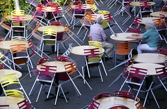 Having a Break (The Green Album) Tags: people orange coffee yellow catchycolors cafe cornwall pattern break chairs empty patterns edenproject elderly tables mauve aplusphoto