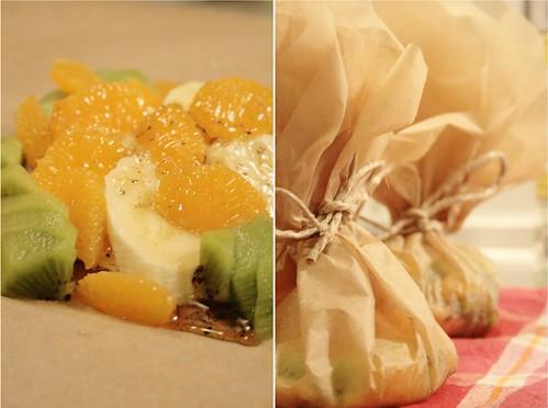Papillotes de fruits à la vanille