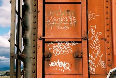 (All Seeing) Tags: art graffiti alie trains tags destn heavens sfgraffiti harsh bmb chek graffitiart freights paintedtrains railart sanfranciscograffiti monikers freightgraffiti boxcarart bayareagraffiti hobotags