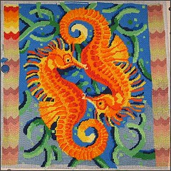 Seahorses needlepoint as of 2/19