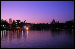 The twilight enchantment (Massy75) Tags: pink light roma lago twilight violet rosa lac dreaming cielo romantic luci eur viola colori romantico sera sabato passeggiata sognante