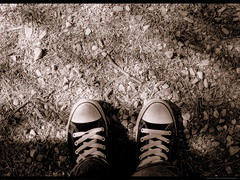 Foot-step (Waseef Akhtar) Tags: park bw selfportrait me sepia myself shoes walk sony 101 shade footsteps shelter aplusphoto sonydscs650