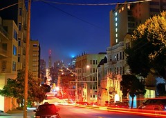 clay at lafayette park (pbo31) Tags: sf sanfrancisco california road above ca street city longexposure blue light red sky urban usa brown black color building yellow architecture night america dark lights moving movement lowlight nikon view traffic image over may structure sanfranciscobayarea bayarea d200 2008 westcoast traffictrails lightstream sanfranciscocounty