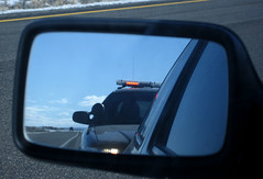 Pulled Over (tapsjg) Tags: road trooper reflection car warning canon happy mirror nice view state side nevada over police reflect cop friendly lone desolate barren chill speeding officer pulled sd550