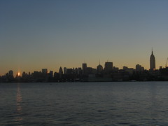 Manhattan sunrise ( estatik ) Tags: new york nyc ny reflection building sunrise pier glare state manhattan empire hudson hoboken