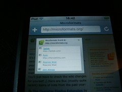 Microformats on my iPod Touch