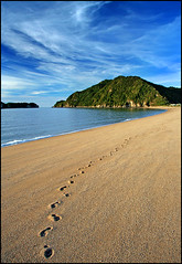 A beach to myself (Daniel Murray (southnz)) Tags: sea newzealand sky beach landscape golden bay coast sand scenery alone tata nz southisland footprint flickrsbest southnz naturefinest