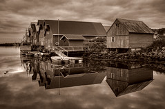 Sepia Harbour (Krogen) Tags: bw norway landscape norge blackwhite norwegen noruega bud scandinavia boathouse romsdal frna krogen landskap noorwegen noreg skandinavia blueribbonwinner naust abigfave diamondclassphotographer flickrdiamond olympusc707