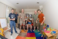 Australia Day Wii (neilcreek) Tags: chris people woman game andy boys girl smile ian fun four child play jamie action wideangle fisheye tennis enjoy naomi colourful console con grug wii strobist wiimotion colorfulmen