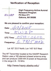 HAARP QSL Back