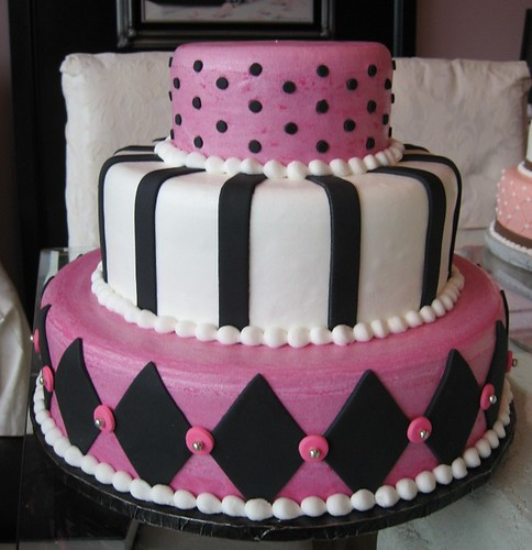 hot pink black and white wedding cakes. Hot Pink Black amp; White Wedding