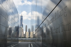 NJ 9/11 Memorial - Liberty State Park, 2016 (Alan Barr) Tags: libertystatepark libertypark newjersey nj 2016 reflection reflections mirror color landscape monument sky skyline olympus omd em5