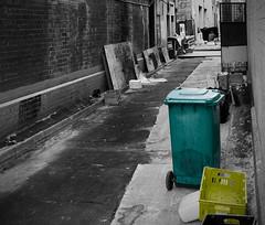 haymarket sydney - alleyway (justthething84) Tags: sydney dirty alleyway haymarket bins selectivecolouring selectivecoloring