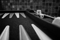 Ancient Game (18/52) (dlanglois2) Tags: blackandwhite bw dice canon four play board games nik 18 52 backgammon eighteen fiftytwo