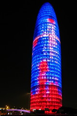 Torre Agbar at night (p#4) Tags: barcelona blue red night dark torre nightshot agbar jeannouvel