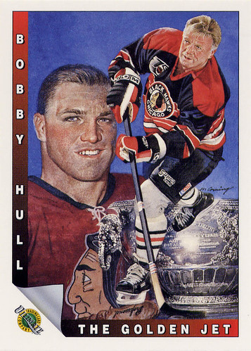 Bobby Hull, Chicago Blackhawks, Ultimate Original six, 1992, nhl 7th anniversary, hockey cards, hockey art