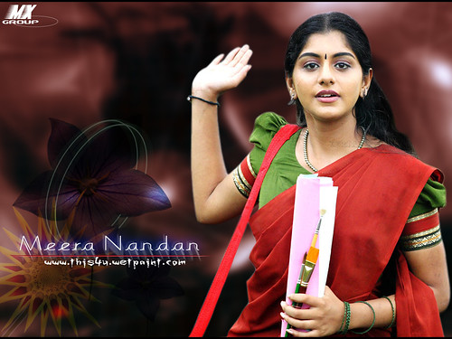 Desktop wallpaper showing Malayalam actress Meera Nandan