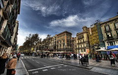 Las Ramblas (Doug Mo (Gone Vagabonding)) Tags: barcelona road travel cloud clouds spain pedestrian catalonia explore larambla pedestrians lasramblas roads photoshopcs2 ramblas 2007 rambla liceu barcelons canonefs1022mmf3545usm photomatixpro i500 lunarvillage dougmo shadowcaster57 interestngness402