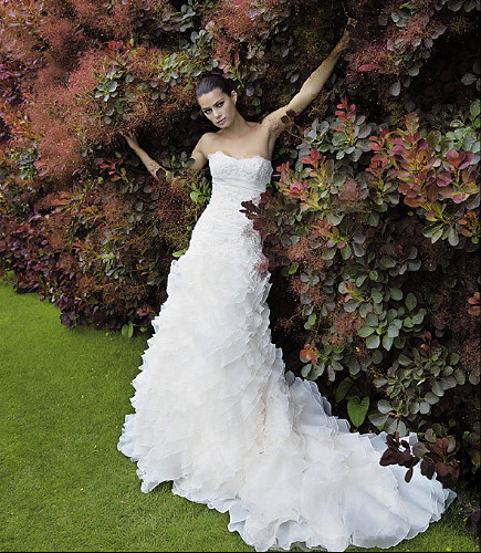 luxurious wedding dress with a white cloth wrapped corrugated