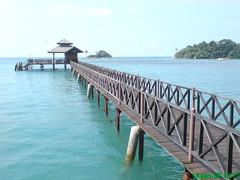 Clear blue water off the Kelong Restaurant at Bintan Island