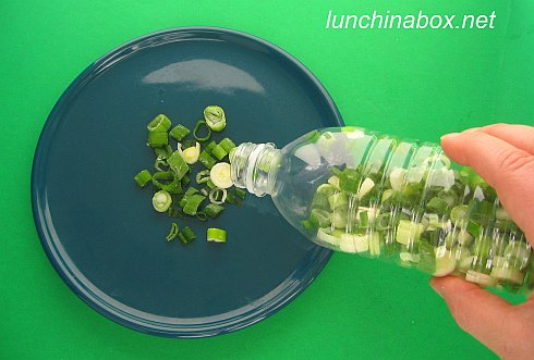 Speed tip: Freeze chopped green onions in plastic drink bottles