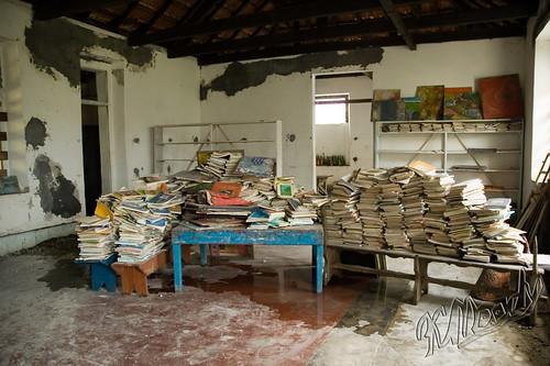 Books temporarily stored in former hospital