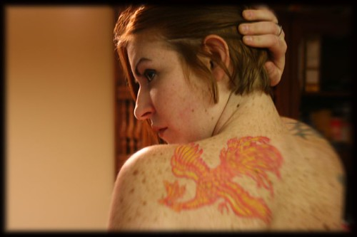 with her new firebird tattoo