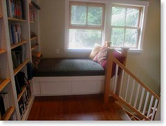 cabin interior_ross chapin_blue sky_window seat bed library stairs (anitajuneparker) Tags: house ross cabin interiors small cottage landing bookshelves chapin windowseat daybed