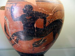 Etruscan black-figured depiction of a centaur on amphora - Flickr user: diffendale