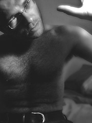 Flash and Wonder (<AbsoluteZERO>) Tags: portrait selfportrait male glasses bed nipple chest lips mysterious torso hairychest