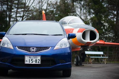 Honda Fit with Jet plane