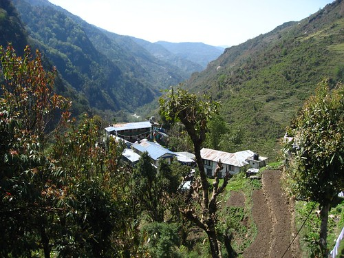 Looking down on Jhinu danda and the valley