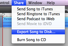 Export Song to Disk in Garageband