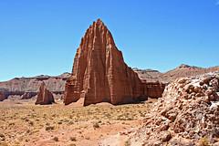 Glass Mountain, The Sun and The Moon (Bob Palin) Tags: 15fav usa landscape utah nationalpark sandstone desert capitolreef cathedralvalley 100vistas instantfave vogonpoetry orig:file=2008051611352 dopplr:explore=kul1 nopin